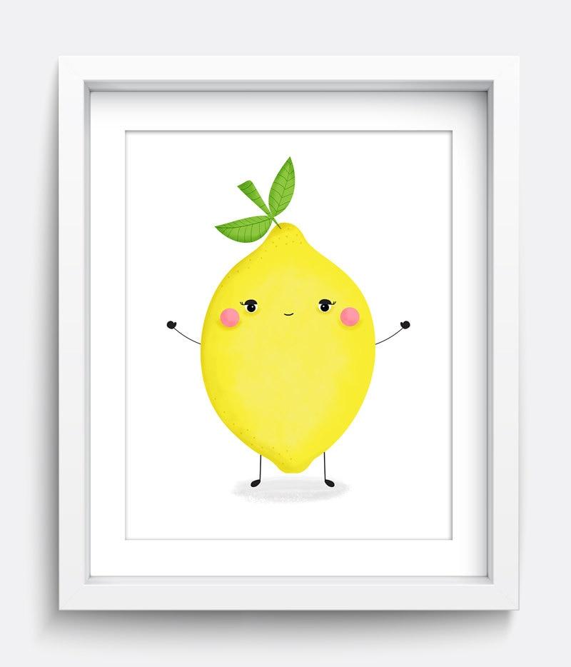 Lemon Print Kids Wall Art Home Decor Nursery Prints