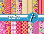 SALE Paisley and Floral Digital Paper in pink and orange, flower, paisley, scrapbook, background, backgrounds, scrapbooking