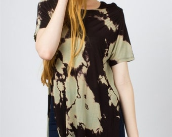 T2400 Tie Dye Hi-Low Tunic T-Shirt Top W/ Side Slit Black/Taupe