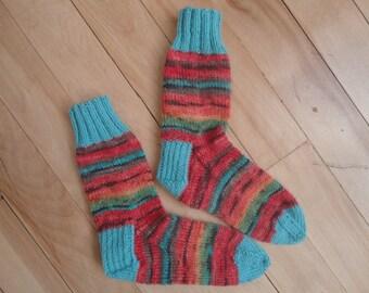 Multicolor superwash wool mérino and wool knitting socks
