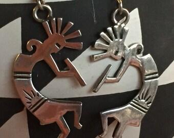 Kokopelli earrings, Native American Indian style vintage earrings, southwest style earrings, silver Kokapelli earrings, tribal earrings