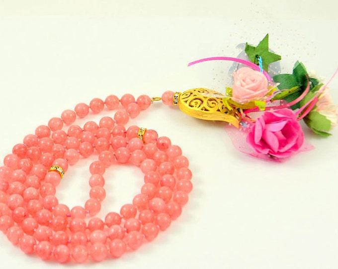 muslim woman faith beads, handmade rosary necklace, paternoster/ masbaha/ tasbih/ subhah/ misbahah/ misbaha, muslim wedding bridal gift, eid