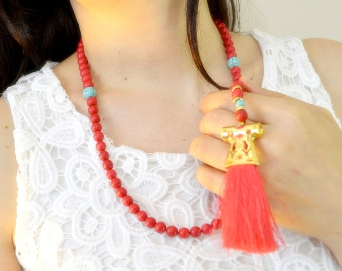 Caftan islamic rosary necklace, kaftan tassel red gestone beads, tasbeh, masbahah, imame, tesbih red tasbeh subhah tespih praying 99 beads