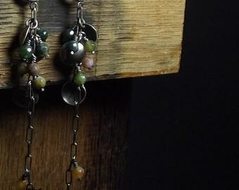 Indian agate earrings Sterling silver Oxidized Handmade Long earrings Green