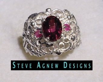 Rubelite Tourmaline and Ruby Ring