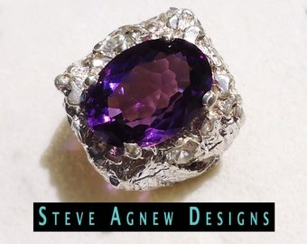 HUGE Amethyst Ring with Clear Topaz