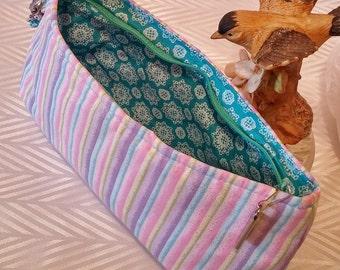 Pink Wristlet, Pink Clutch, Handbag, Small Wristlet, Purse, Pastel, Stripe, Sparkle