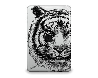 iPad Air case, iPad Mini case, iPad Mini 2 case, iPad 3 case, iPad clear case, custom iPad case, iPad TPU,Tiger Sketch Clear case