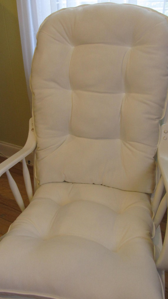 rocking chair cushion set in solid white canvas baby nursery rocker