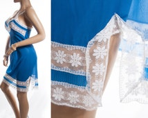 Stunning silky soft sheer electric blue Perlon and delicate see through white lace and pleat detail 1960's vintage full slip petticoat- S110