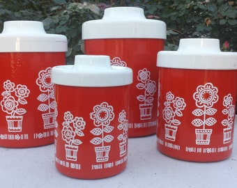 Vintage Canister Set-Orange with Daisies
