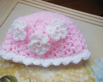Hand crocheted hat for baby girl birth to 3 months