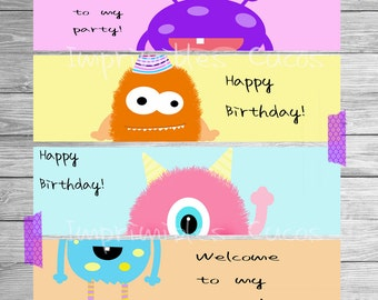 MONSTER WATER BOTTLE label, Monster party, Monster birthday, Monster Printables