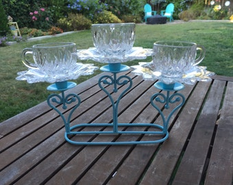 Vintage Glass  Triple Teacup Totem,Garden Decor