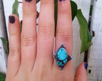 Natural Kingman Turquoise Ring Sterling Silver Sz 7