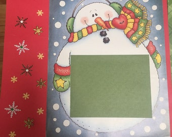 Snowman premade 12x12 scrapbook page