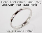 18ct 750 Solid White Gold Ring Wedding Engagement Friendship Half Round Band 2mm