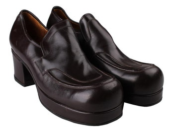 Verde mens disco hippie hipster throwback vintage 1970s brown platform shoes 9US