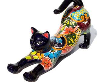 BEAUTIFUL Talavera Cat   Mexican Talavera