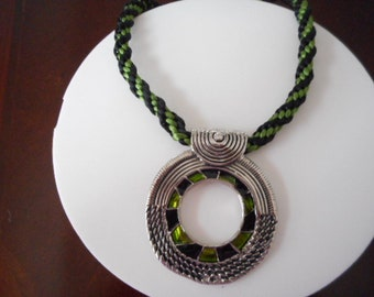 Woven necklace handmade, black and green silk, necklaces, lace, necklace for women, lace tape,