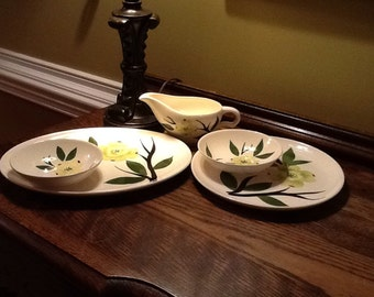 Great Dixie Dogwood Collection! Creamer/Gravy Boat,Dinner Plate,Platter and 2 Berry Bowls- by Joni China