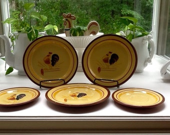 Stangl Pottery-Rare Rooster Pattern! Set of 5 Plates