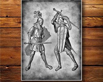 Medieval Print, Knight Illustration, Battle Decor, Warrior Art BW289