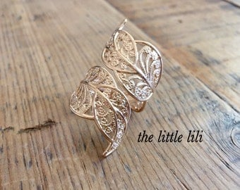 Gold Wrap Ring/Leaf Wrapped Ring/Adjustable Ring/Big Leaf Ring/Big Gold Ring/Wrapping Ring/Gold Ring/Gold Plated Ring For Her/Gift For Her.