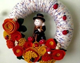 New Year Wreath, Chimney Sweep with Felt Flowers, Yarn Wreath with Felt Flowers, Good Luck Wreath, All Season Wreath, Home Decor, Wall Decor