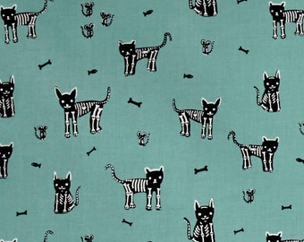My Pet Skeleton Cat Fabric Teal Boo Collection from Cotton + Steel