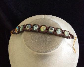 Vintage Wooden Cats & Dogs Bracelet
