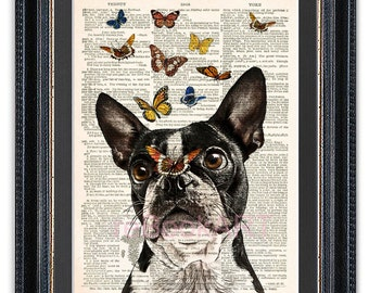NEW Boston Terrier With Butterflies, Dictionary Art Print, Boston Terrier Art Print, Boston Terrier Art, Boston Terrier Poster