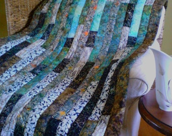 BoHo modern brown/blue/green/black batik lap quilt