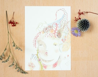 "Postcard  ""Once a while I thought I was a fairy"" - 《dodolulu》  - illustration - affordable art - watercolor drawing - quality postcard print"