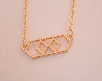 gold hexagon necklace geometric necklace delicate necklace geometry necklace bridesmaid gift , wedding gift