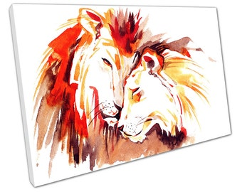 Watercolour LION And Lioness Canvas WALL ART C2099