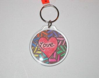 Round Key Chain w/Hippie Design (KR021)