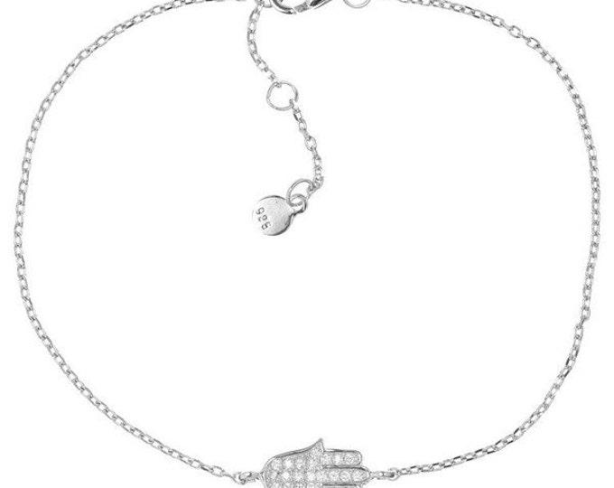 Silver Hamsa Bracelet Cubic Zirconia Sterling Silver Bracelet Hamsa Charm Hamsa Jewelry Gift For Her Protection Bracelet Evil Eye Bracelet