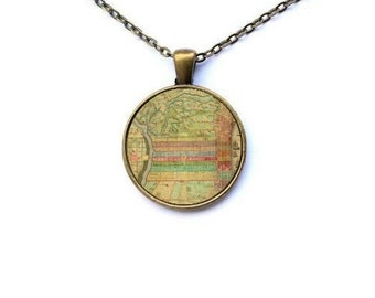 Philadelphia Necklace - Old Philadelphia Map Historic Philadelphia Map Philly Map Necklace Vintage Philadelphia Map Philly Jewelry Phila Map