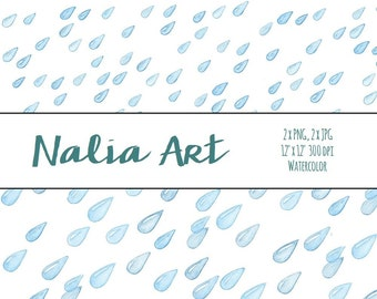 Digital Watercolor Clipart Rain, Raindrops PNG, JPG