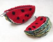 Watermelon felt bag - Handmade wool, accessories, purse, wallet, purse, Clutsch, bag, felt, fruit, summer, children, Red