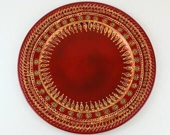 Beautiful Gold painted Indian/Pakistan Thali/Decorated Plate/Pooja thali/Henna party/Henna art/ Diwali Decor/Navrathri decor/Indian wedding