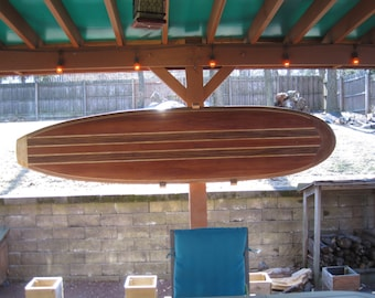 """8' 4"""" decorative exotic hollow wood surfboard"""