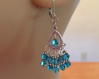 Pair Of Petite Chandelier Earrings with Swarovski Beads