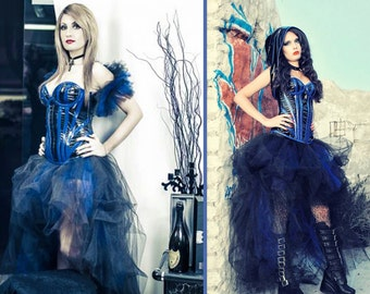 Blue Black prom dress/Extravagant prom dress/Steam punk dress/ Victorian dress/Gothic wedding dress/ Lolita dress