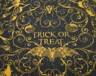 Halloween Fabric Trick or Treat  1 yard cotton