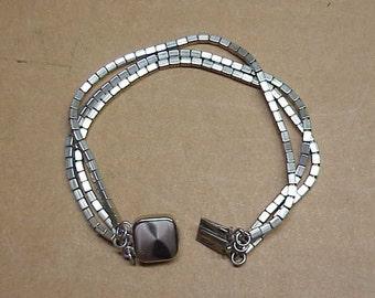 Antique Vintage Solid Sterling Silver Block Designer Bracelet #9A