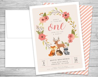 Woodland Creatures Party Invitations + Envelopes - Illustrated Kid's Birthday - Digital or Professionally Printed + SHIPPING INCLUDED