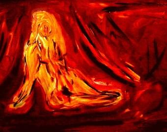Women on red silk