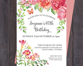 Floral birthday invitation, any age, 1st, 2nd, 3rd, 16th 30th 40th 50th 60th 70th 80th 90th, digital printable